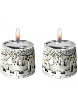 Bougeoirs Design de Jerusalem Plaque argent 925