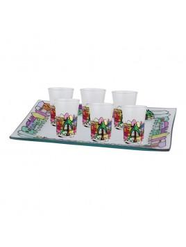 6 Mini Cup Jerusalem Rouge verre paint