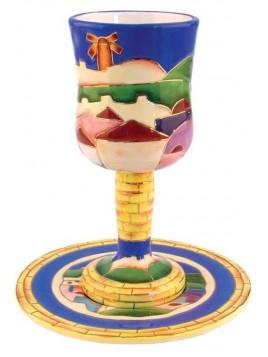 Ceramic Verre a Kiddouch + sous coupe Design de Jerusalem