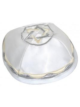 Kippah satin blanc pale