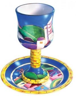 Ceramic Coupe de Kiddouch + sous coupe Jerusalem