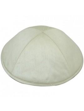 Kippah satin blanc casse 20cm