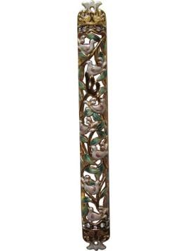 Boitier a Mezouza émail colombes de paix 12 cm