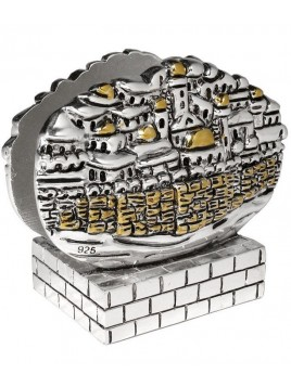 Porte carte de visite Design de Jerusalem Plaque argent 925