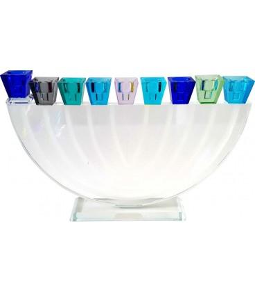 Chanoukia rond en verre style cristal