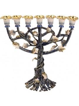Menorah Pourme d'arbre Turquoise
