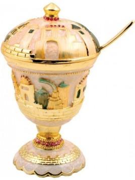 Pot a Miel sur theme de Jerusalem ivoire