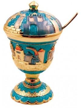 Pot a Miel sur theme de Jerusalem Turquoise