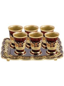 Plateau avec 6 petits verres marron