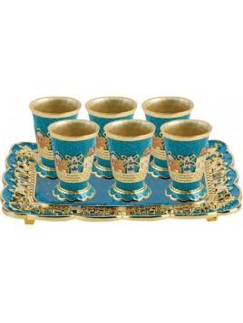 Plateau avec 6 petits verres Turquoise
