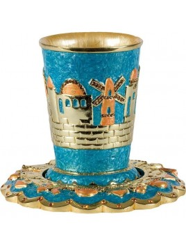 Verre a Kiddouch + sous coupe Turquoise