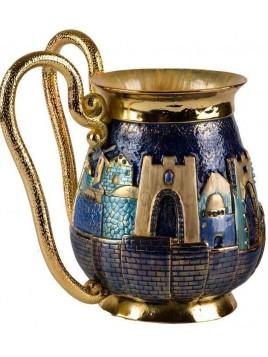 Recipient de Netilat Yadayim de luxe design Jerusalem Bleu