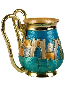 Recipient de Netilat Yadayim de luxe design Jerusalem Turquoise