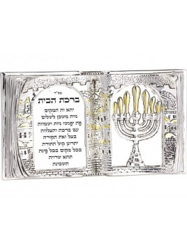 Forme de Livre de Benediction Hebreu Plaque argent 925