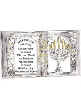 Forme de Livre de Benediction anglais Plaque argent 925