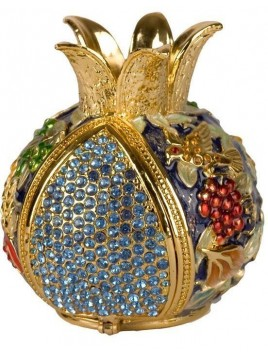 Grenade bleu porte bessamim (enssence) sertie de cristaux
