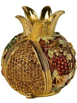 Grenade maron porte bessamim (enssence) sertie de cristaux
