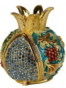 Grenade turquoise porte bessamim (enssence) sertie de cristaux