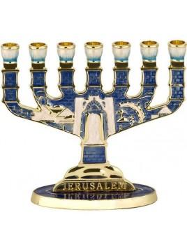 Menorah design de jerusalem email bleu