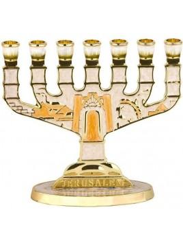 Menorah design de jerusalem email ivoire