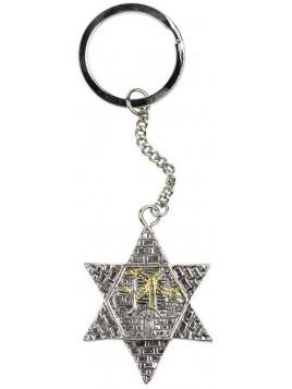 Porte cle Jerusalem Maguen David Plaque argent 925