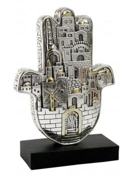 Hamsa Large Design de Jerusalem Plaque argent 925