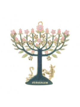 Decoration Menorah fleurie