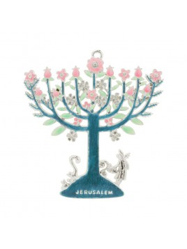 Decoration Menorah fleuries