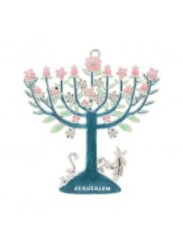 Decoration Menorah fleuries