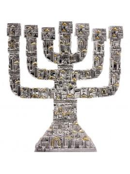 Menora de Jerusalem Plaque argent