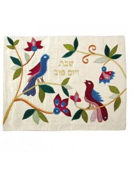 couvre pain en soie sauvage les colombes de la paix