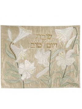couvre pain en soie sauvage lily en or