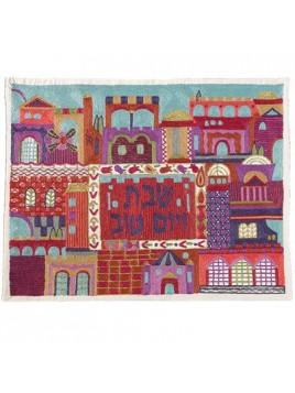 Couvre pain de Chabbat brode a la main Jerusalem et ses couleurs