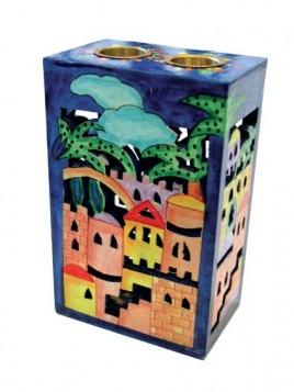 Bougeoir en bois avec dessin Jerusalem relief