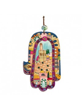 Large Wood Painted Hamsa