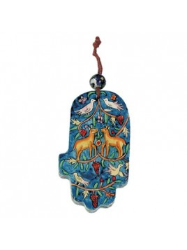 Small Wood Painted Hamsa