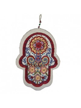 Embroidered Hamsa + Crystals - Large
