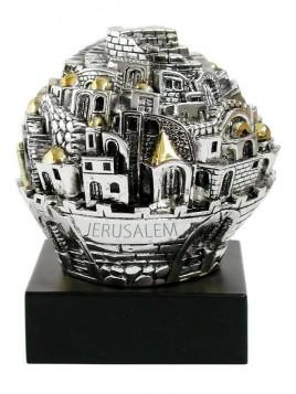 Balle sur theme Jerusalem Sur base Plaque argent 925