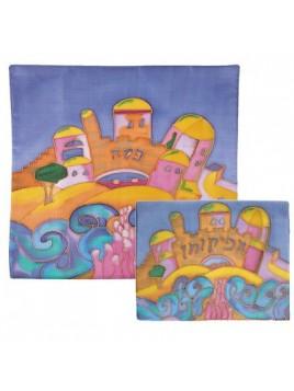Couvre Matza avec dessin Fait-main sur soie