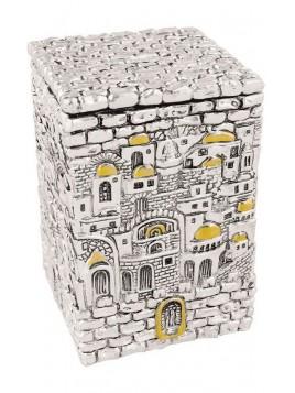 Boite de tsedaka Design de Jerusalem Plaque argent 925