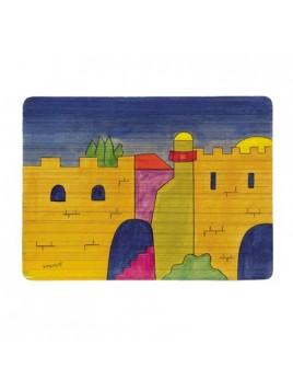 Set de table avec dessin Sur bois Muraille de Jerusalem