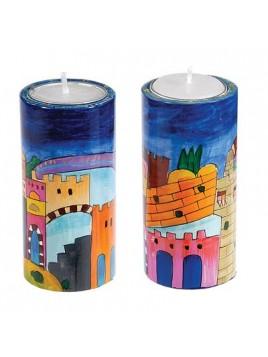 Paire de bougeoir Cylindre - Grande taille 10cm Jerusalem