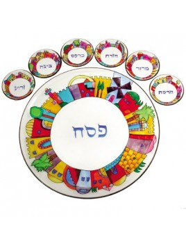 Glass Seder Plate & Six Glass Bowls