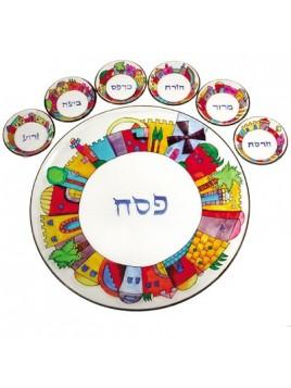 Glass Seder Plate & Six Glass Bowls