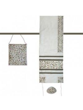 Set de Talit Kippa et Pochette brodes Fleur de Lys blanc
