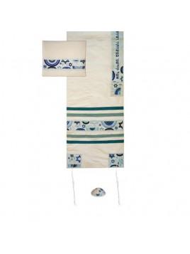 Set de Talit Kippa et Pochette brodes etoile de David bleu