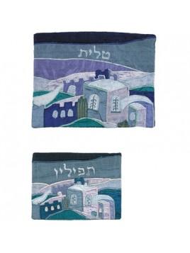 Pochette pour le Talith en soie sauvage Jerusalem la nuit