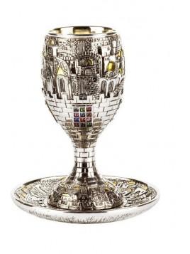 Coupe de Kiddouch + sous coupe Jerusalem Plaque argent 925