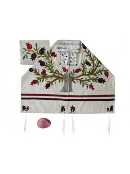 Set de Talit pochette et Kippa artistique decore de bandes en soie Grenadier blanc