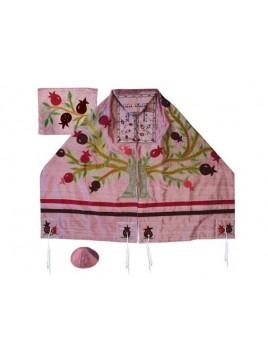 Set de Talit pochette et Kippa artistique decore de bandes en soie Grenadier rose